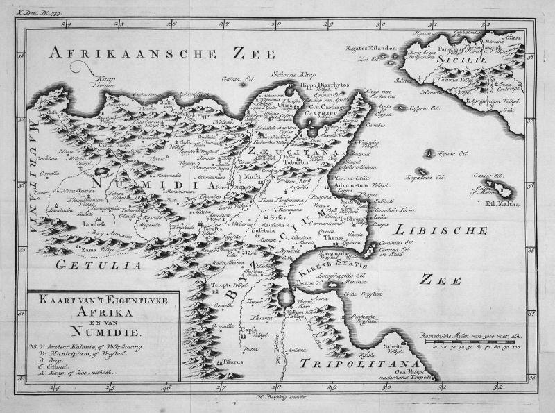 Kaart van't eigentlyke Afrika en van Numidie - Afrika Africa Numidien Numidia Karte map Kupferstich copper eng