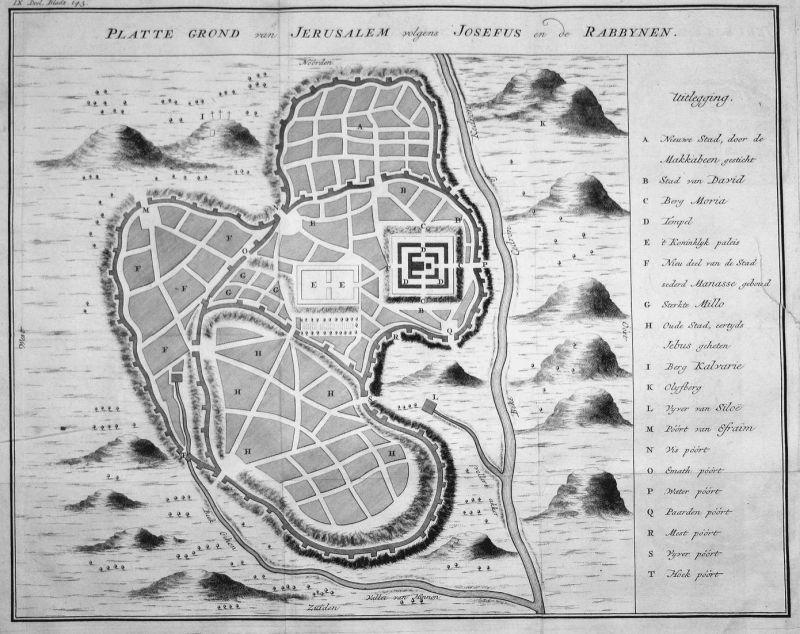 Platte Grond van Jerusalem volgens Josefus en de Rabbynen - Jerusalem Josephus Plan Karte map Kupferstich copp