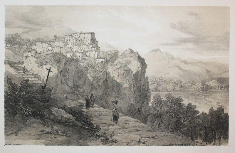 Rocca Giovane - Roccagiovine Latium Rom Rome Italien Italia Italy Ansicht view Lithographie lithograph antique