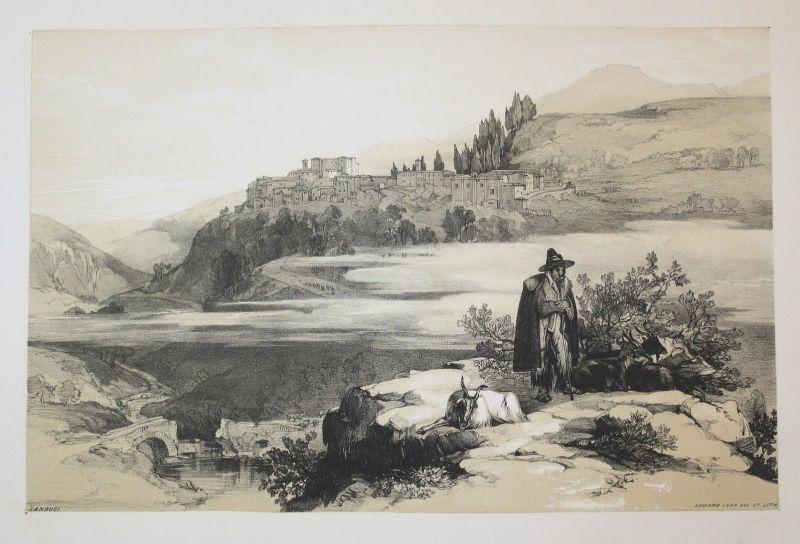 Sanbuci - Sambuci Latium Rom Rome Italien Italia Italy Ansicht view Lithographie lithograph antique print
