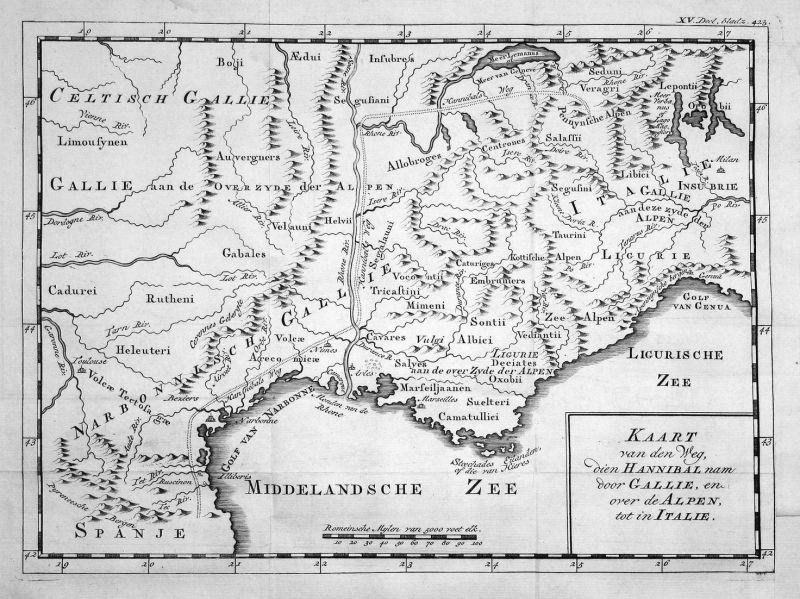 Kaart van den Weg, dien Hannibal nam door Gallie, en over de Alpen, tot in Italie - Hannibal Alpenüberquerung 0