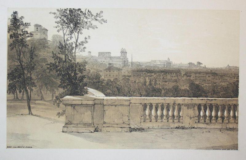 Rome from Monte Pincio - Pincio Rom Rome Italien Italia Italy Ansicht view Lithographie lithograph antique pri