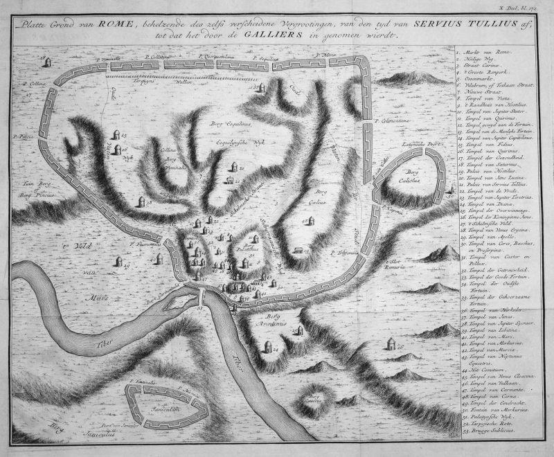 Platte Grond van Rome, behelzende des zelfs verscheidene Vergrootingen, van den tyd van Servius Tullius af, to