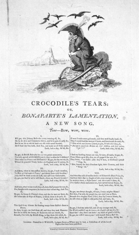 Crocodile's tears: or, Bonaparte's lamentation. A new song - Napoleon Bonaparte cry lament Weinen crocodile's