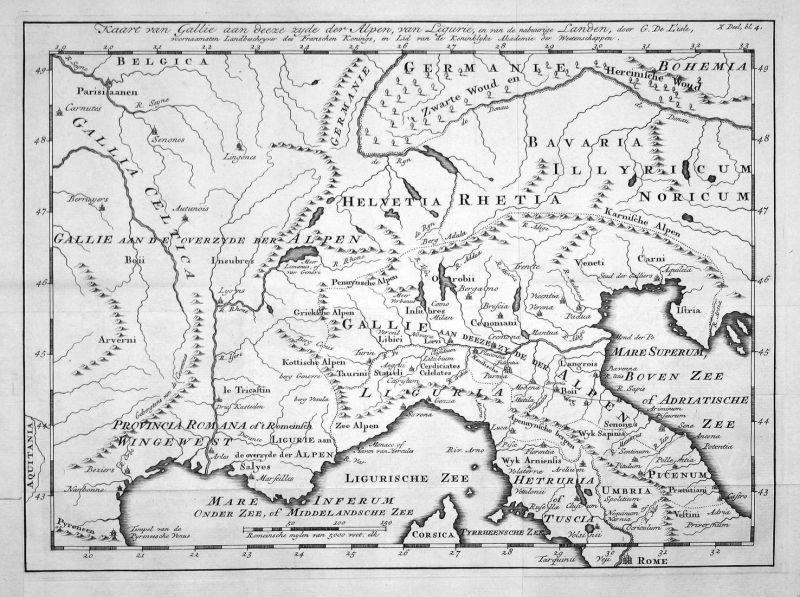 Kaart van Gallie aan deeze zyde der Alpen, van Ligurie, en van de nabuurige Landen - Gallien Gallia Ligurien L