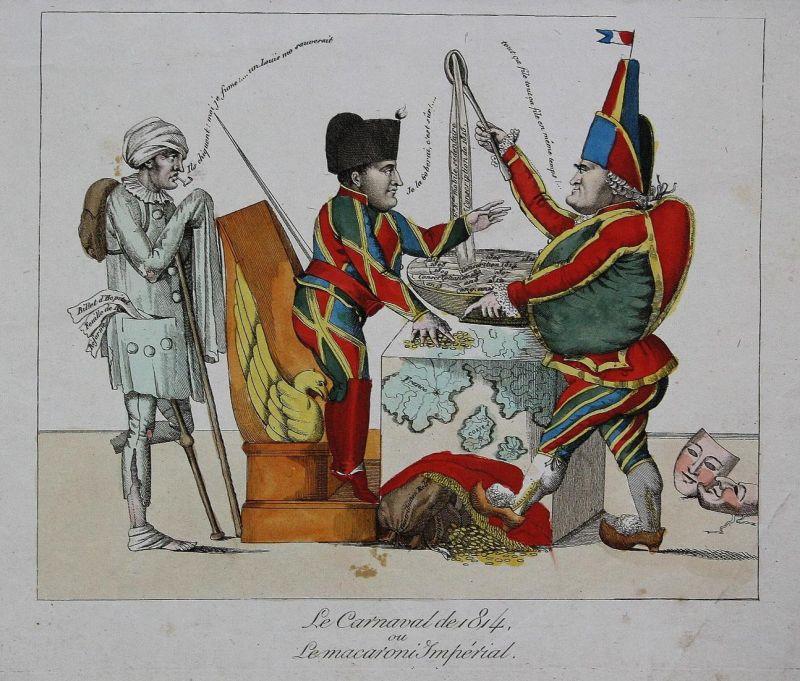 Le Carnaval de 1814, ou Le macaroni Impérial - Napoleon Bonaparte Cambacéres carnaval Karneval Harlequin Punch