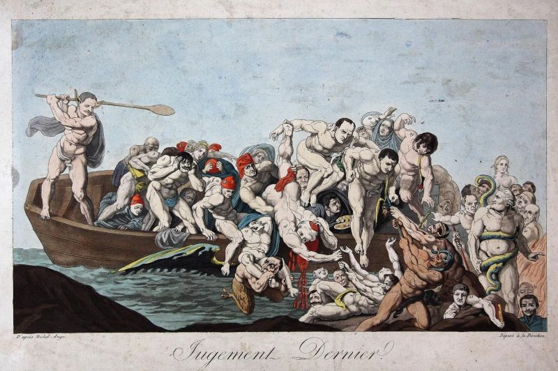 Jugement Dernier - the fall of Napoleon Bonaparte defeat caricature Karikatur cartoon Satire parody etching Ra 0