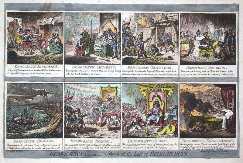 Democracy;-or-a Sketch of the Life of Buonaparte. - Napoleon Bonaparte's life Leben 8 scenes timeline Satire c