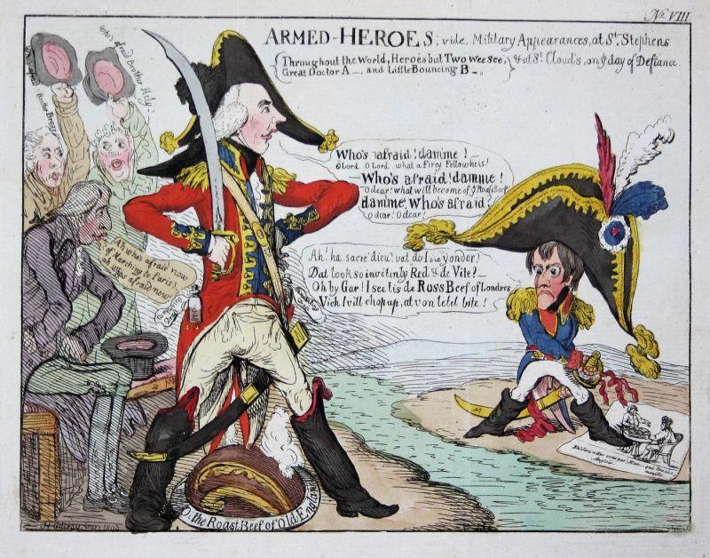 Armed Heroes. - Napoleon Bonaparte Henry Addington English Channel England Großbritannien caricature Karikatur 0