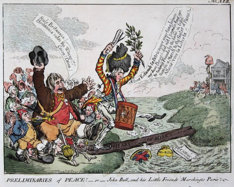 Preliminaries of Peace! - or - John Bull,and his Little Friends Marching to Paris. - Lord Hawkesbury John Bull