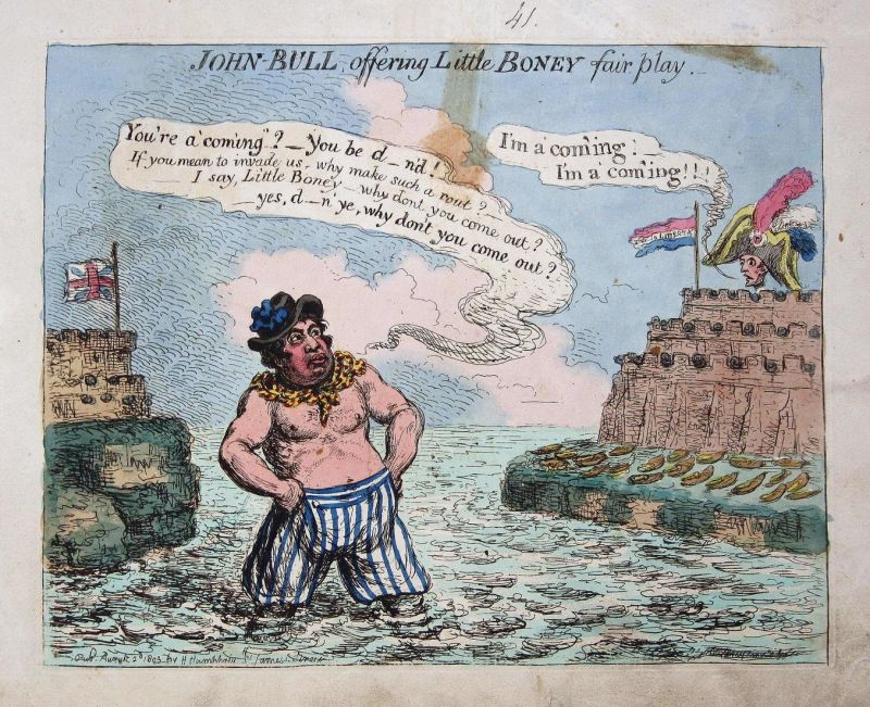 John Bull offering little Boney fair play - John Bull sailor Seemann Napoleon Bonaparte English Channel Englan