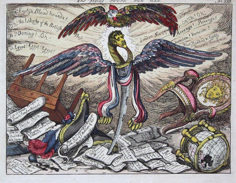 The flying sword run mad. - Napoleon sword Schwert wings Flügel caricature Karikatur cartoon Satire etching Ra 0