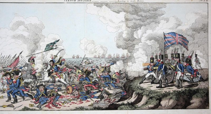 French invasion -landing in Great-Britain - French Invasion of England caricature Karikatur cartoon Satire etc
