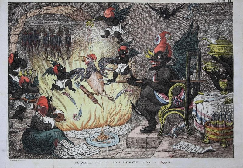 The kitchen below or Belzebub going to supper. - Napoleon as a chicken on a roast devil Teufel diable Hell car 0