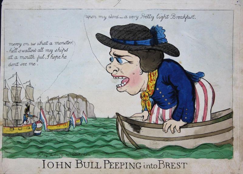 Iohn Bull peeping into Brest - John Bull England UK Großbritannien Napoleon Bonaparte Blockade of Brest carica