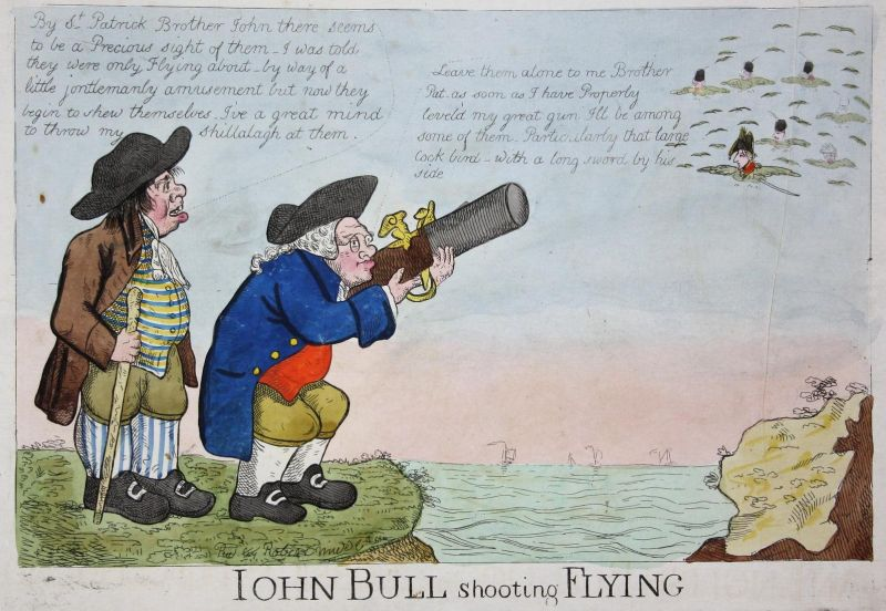 Iohn Bull shooting Flying - John Bull Irishman Napoleon Bonaparte crow crows England UK Großbritannien caricat