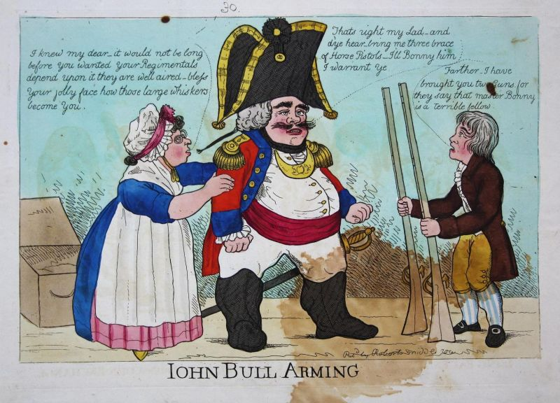 John Bull arming - John Bull aiming England Großbritannien UK caricature Karikatur cartoon satire etching Radi 0