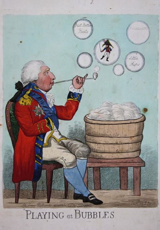 Playing at Bubbles - King George III soap bubbles Napoleon Bonaparte England UK Großbritannien caricature Kari