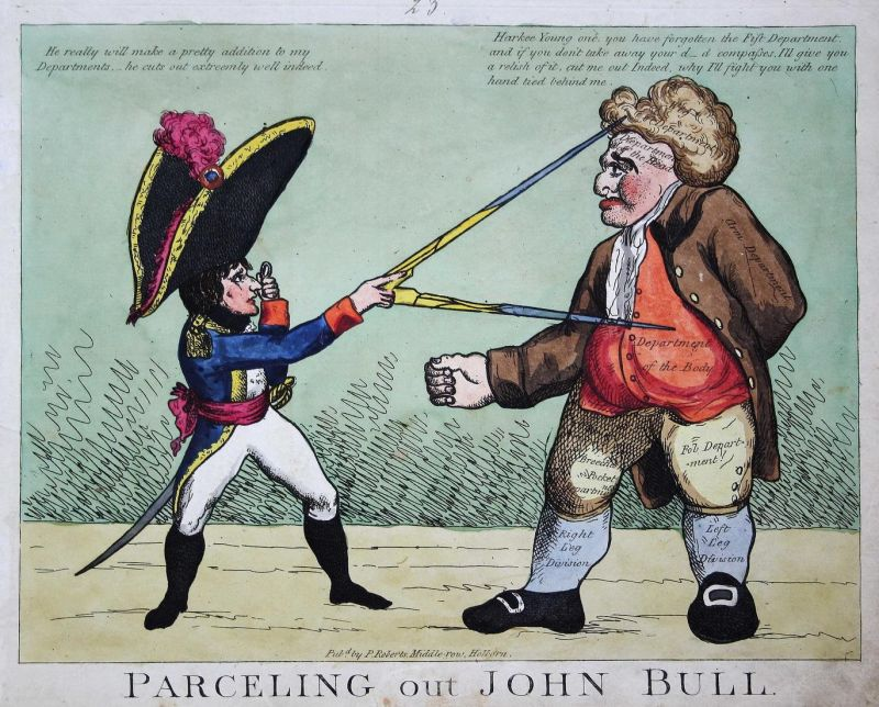 Parceling out John Bull. - John Bull Napoleon Bonaparte compasses Zirkel England Großbritannien UK caricature