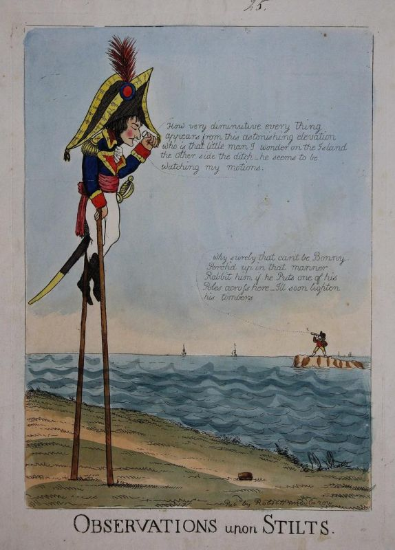 Observations upon stilts - Napoleon Bonaparte on stilts Stelzen spy-glass John Bull England UK Großbritannien