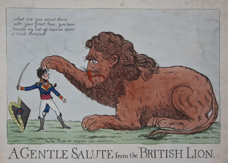 A gentle salute from the British lion - British lion Löwe salute Napoleon Bonaparte England Großbritannien UK