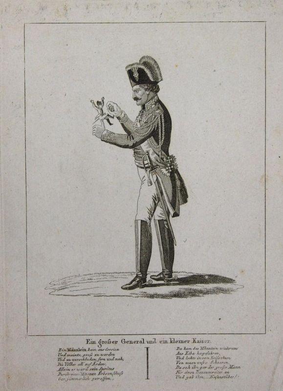 Ein grosser General und ein kleiner Kaiser - Leberecht von Blücher Lilliputian Napoleon caricature Karikatur c 0
