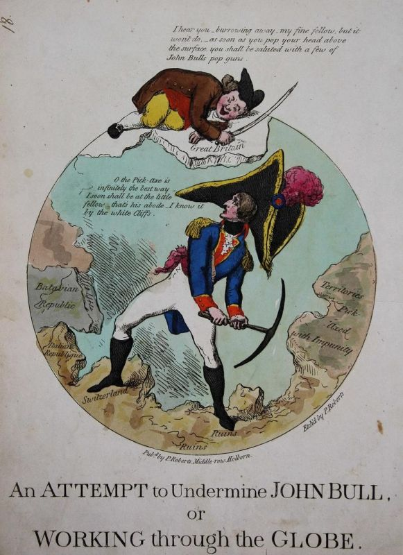 An attempt to undermine John Bull, or working through the globe. - John Bull world globe Globus Napoleon Bonap