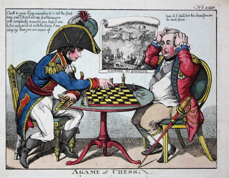 A game at chess - Napoleon Bonaparte Cornwallis playing chess Schach caricature Karikatur cartoon Satire etchi