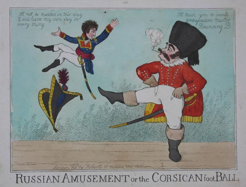 Russian amusement or the Corsican football- Russian Cossack Napoleon caricature Karikatur cartoon satire etchi