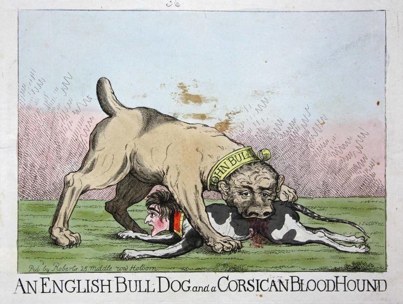 An English bull dog and a Corsican blood hound. - Napoleon Bonaparte John Bull dog Hund dogs Hunde French bloo