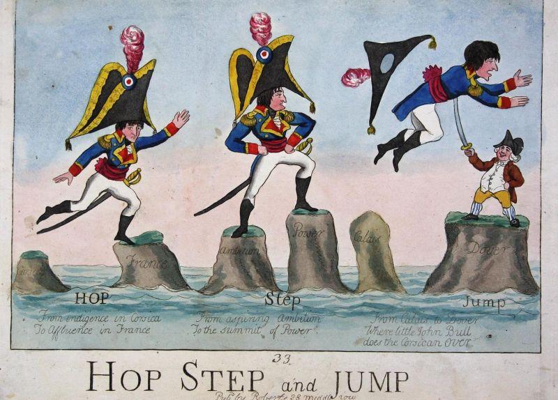 Hop step and jump. - Napoleon Bonaparte jumping stabbed by John Bull jump Springen England UK Großbritannien c