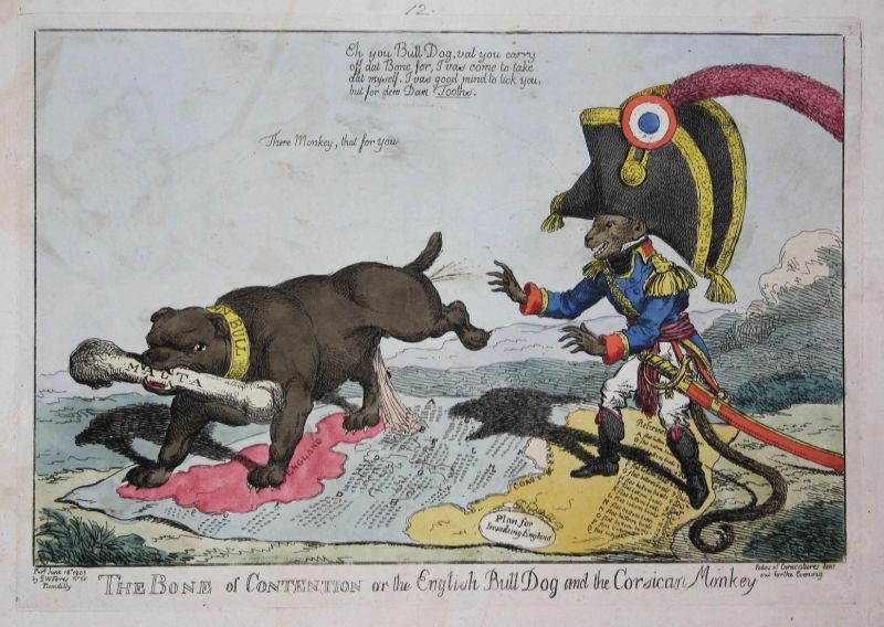 The bone of contention or the English bull dog and the Corsican monkey - Napoleon Bonaparte monkey Affe John B