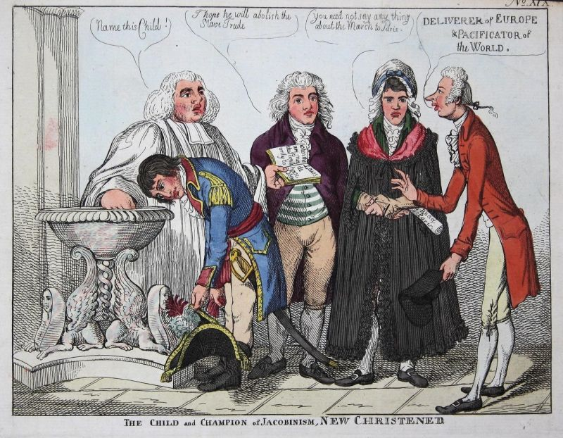 The child and Champion of Jacobinism, New Christened. - Napoleon Bonaparte baptism Taufe caricature Karikatur