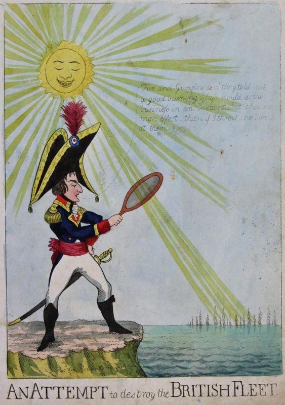 An attempt to destroy the British fleet - Napoleon Bonaparte attempt on British Fleet sun Sonne magnifying gl