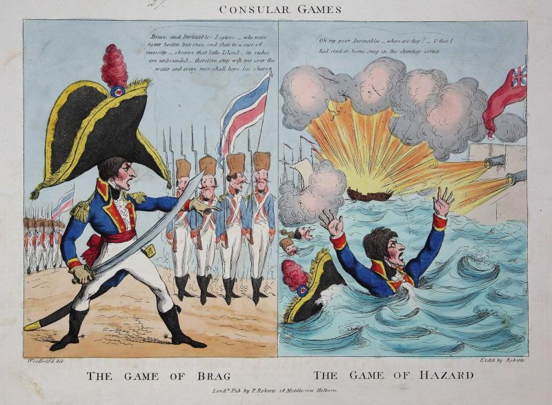 Consular Games / The game of brag / The game of Hazard - Napoleon Bonaparte troops Truppen English Channel inv