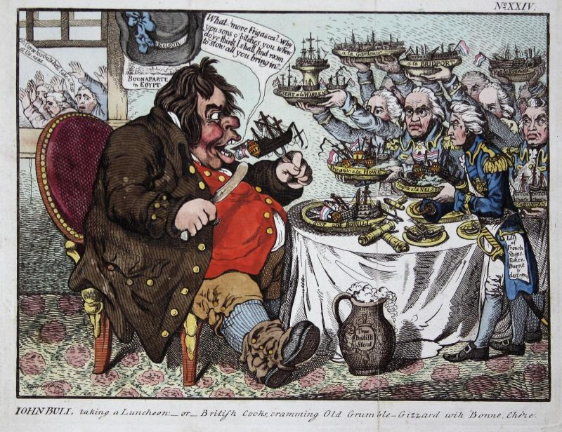 John Bull taking a luncheon:-or- British Cooks, cramming Old Grumble-Gizzard wih Bonne Chere - John Bull eatin