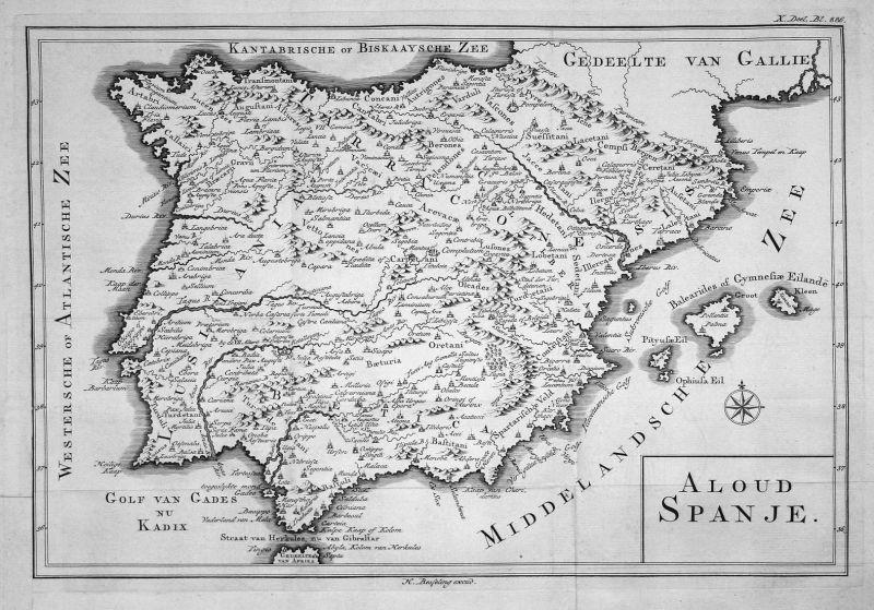 Aloud Spanje - Espana Spain Spanien Karte map Kupferstich copper engraving antique print 0