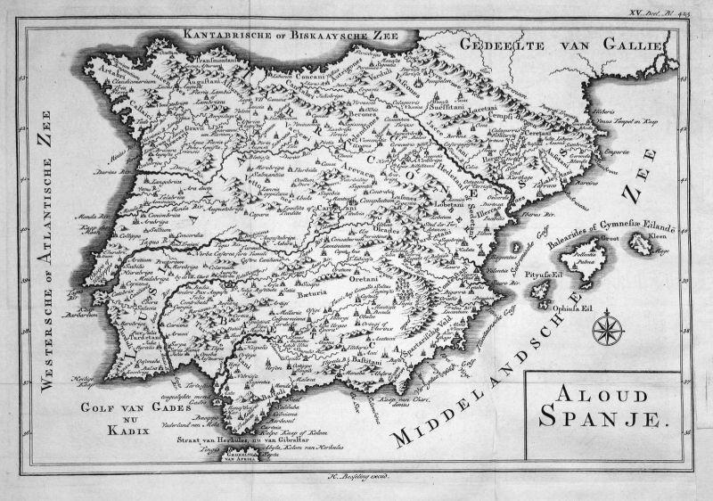 Aloud Spanje - Spanien Spain Espana Karte map Kupferstich copper engraving antique print