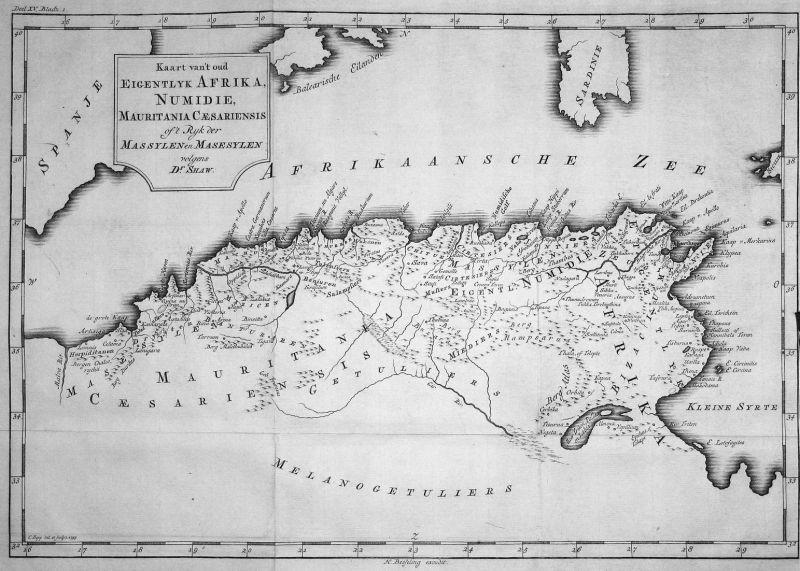 Kaart van't oud eigentlyk Afrika, Numidie, Mauritania Caesariensis of't Ryk der Massylen en Masesylen - Africa