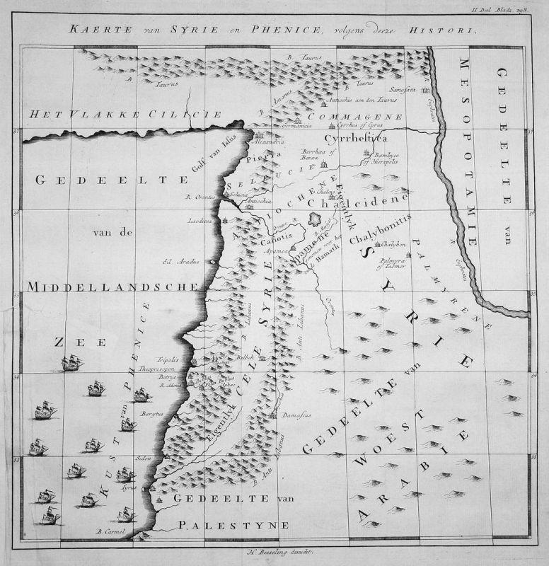 Kaerte van Syrie en Phenice, volgens deeze Histori - Syrien Syria Libanon Lebanon Asien Asia Karte map Kupfers