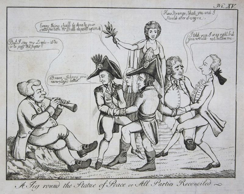 A jig round the statue of peace or all parties reconciled - Napoleon Bonaparte Charles James Fox William Pitt
