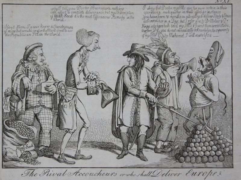 The rival accoucheurs or who shall deliver Europe - William Pitt Napoleon Bonaparte debating money Geld cannon