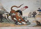 The Corsican Tiger at Bay. - Napoleon Bonaparte Corsican Tiger greyhounds John Bull England Großbritannien Eng