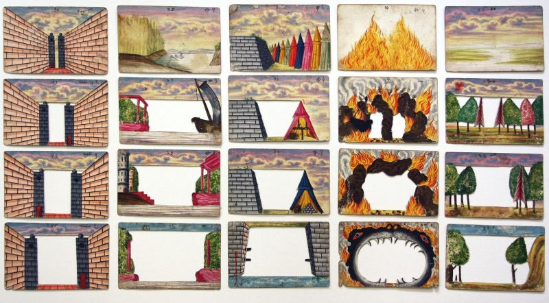 9 manuscript peepshows with 4-5 images each, made from playing cards.