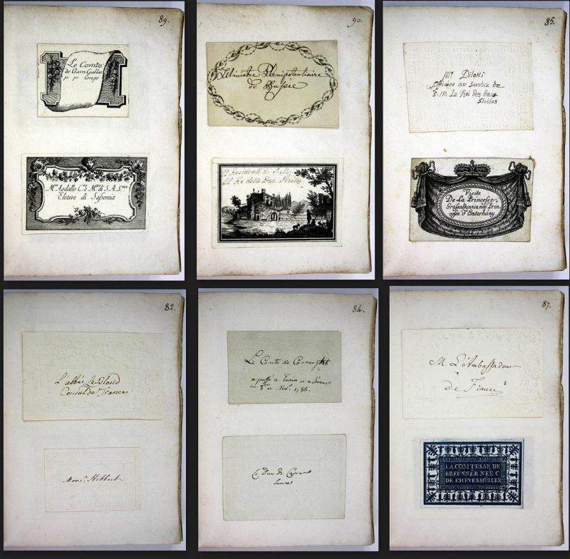 Album With Visiting Cards From The 1780 S Album Mit Visitenkarten Aus Dem 18 Jahrhundert