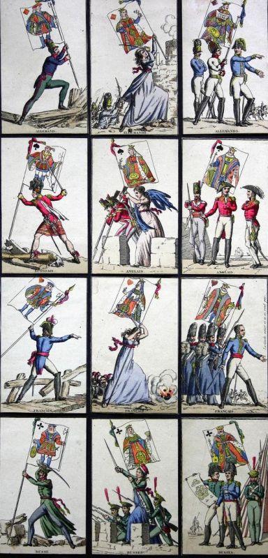 Jeu des drapeaux - Napoleon playing cards Spielkarten Kartenspiel Spiel jeu alte Spiele antique games selten r