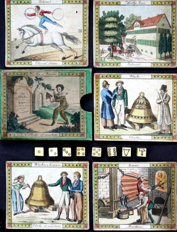 Glocken und Hammer. Cloche et marteau - Bell and Hammer Game Spiel jeu alte Spiele antique games playing cards