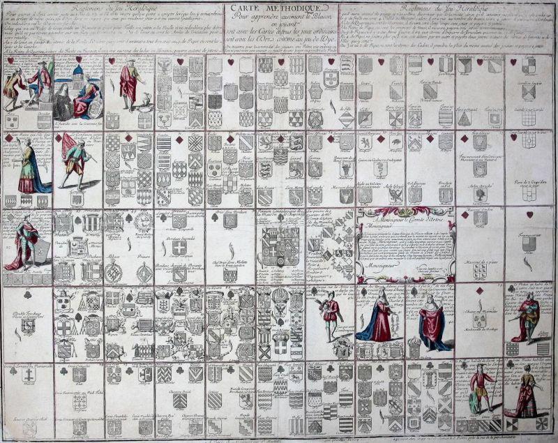 Carte Méthodique pour apprendre aisément le Blason en jouant soit avec les Cartes à tous les jeux ordinaires,