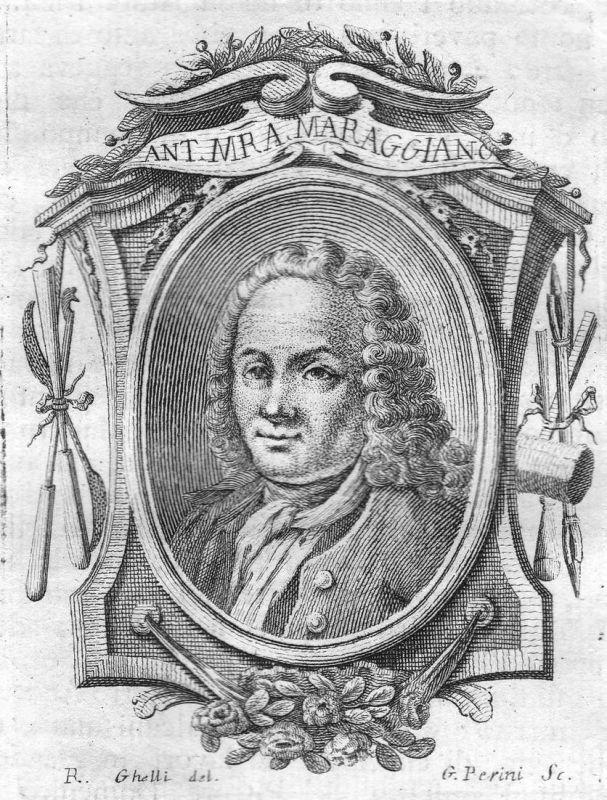 Ant. Mra. Maraggiano - Anton Maria Maragliano Bildhauer sculptor Portrait Italien Italia Kupferstich copper en