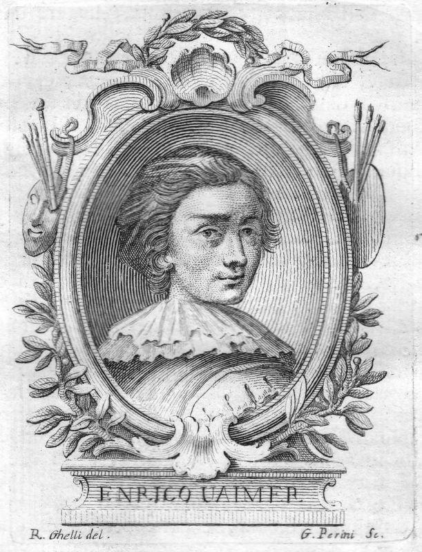 Enrico Uaimer - Enrico Waymer Maler painter Portrait Italien Italia Kupferstich copper engraving antique print